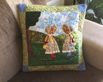 Decorative Pillow, Throw Pillow, Patchwork Pillow, Pillow Cover, Patchwork, Nursery Pillow, Quilted Pillow, Handmade Pillow, View, Nature