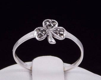Irish Shamrock with Marcasite Ring Sterling Silver Ring