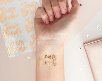 Team Bride Hen Party Bachelorette Party Rose Gold Temporary Tattoo, Wedding, Hen Party, Bachelorette Party Tattoo