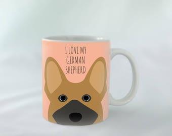 I Love my German Shepherd Mug personalised | Different colours available | Custom name mugs | Dog Mug