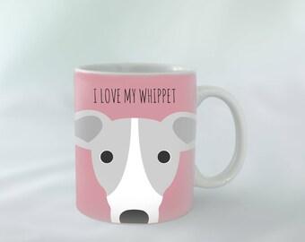I Love my Whippet Mug personalised | Different colours available | Custom name mugs | Dog Mug | Whippet Gift