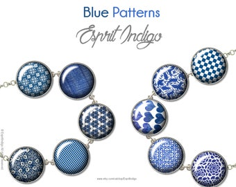 Digital Cabochon Printable Download BLUE PATTERNS 18, 16, 14, 12mm Cameo Images for jewelry making, glass cabochons pendant or paper craft