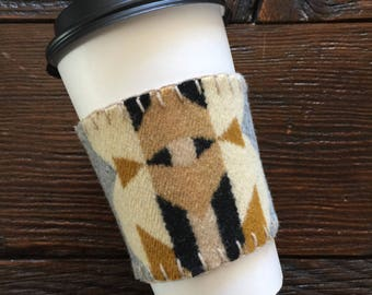 Coffee Cozie pendleton wool navajo cozy aztec tribal print coffee gift pendleton coffee mug repurpose oregon custom