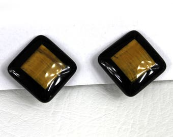 Vintage 1960s Lacquered Inlaid Wood Square Clip on Earrings
