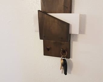 Rustic entryway  key hook with mail slot. Mail organizer with key holder, wall hanging