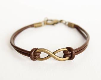 Brown Leather Infinity Charm Bracelet, Infinity Leather Bracelet, Bohemian Leather Bracelet, Boho Leather Infinity Bracelet