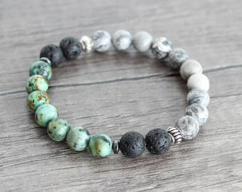 African Turquoise with Lava Stone Beaded Stretch Bracelet • Diffuser Bracelet • Lava Stone Bracelet • Lava Bead Bracelet