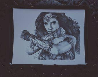 Wonder Woman Portrait Drawing