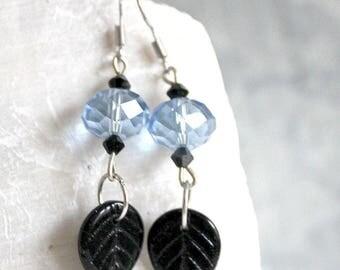Black and blue earrings