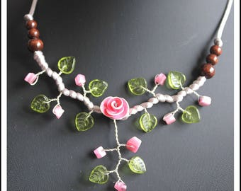 Pink and green floral necklace