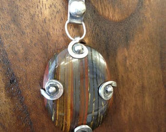 Silver Pendant with Tiger eye stone