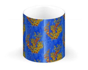 China Mug- Yellow & Red Coral on Blue