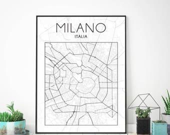 Milan, Italy, city map, minimalist map, minimalist print, wall decor, black and white art, black and white map, modern decor, graphical art
