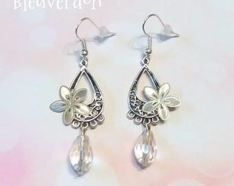 Flowers and pearls earrings Crystal