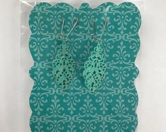 Painted Lightweight Filigree Earrings - 1 inch