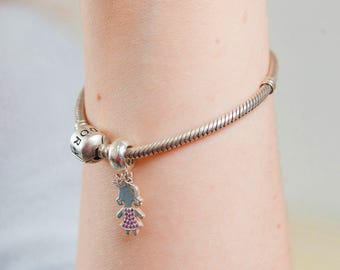 Silver mom's Charm with Baby and Engraving of name and birth date
