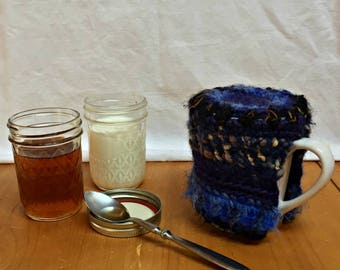 Crochet Tea Cup Cozy Dark Blue Black Beige with White Mug Cup Cozy with 14 oz Mug