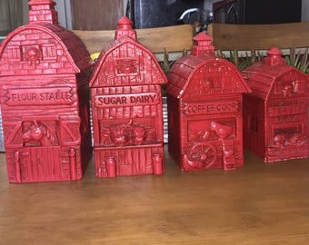Twin-Winton Red Barn Themed Canisters (4 Total)