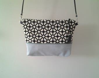 Small shoulder bag leather and fabric