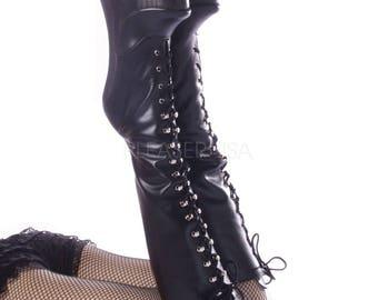Black Leather Platform Fetish Knee High Boots w/ 8 Inch Wooden Wedge Heel
