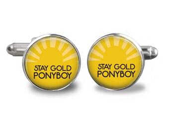 Stay gold ponyboy cufflinks outsiders cufflinks greasers cufflinks gift mens cufflinks glass cufflinks silver cufflinks mens cuff links