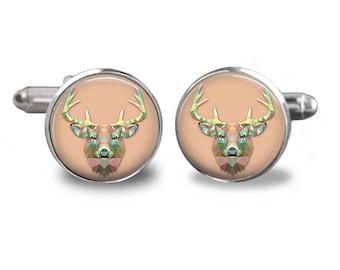 Deer cufflinks deer cufflinks animal cufflinks buck gift mens cufflinks glass cufflinks silver cufflinks mens cuff links