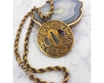 Gold Chrysanthemum Sword Guard Pendant Necklace - Vintage Alva Museum Replicas - Tsuba Flower Disk Medallion - Goto Seijo
