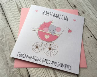 Personalised Cute Baby Elephant  New Baby Girl Card ~Congratulations card ~New parents~ little one