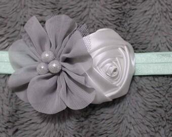 flowers on turquoise elastic headband