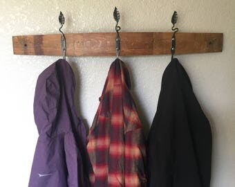 Leaf hooks wine barrel stave