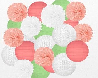23 Piece -  Green, Pink and White Bridal Shower Decor - Paper Lanterns Kit