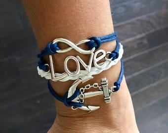 Love braided bracelet - Handmade - Color: blue