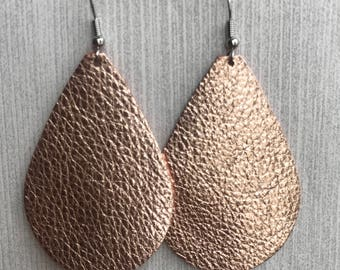 Rose Gold Metallic - Leather Teardrop Earrings