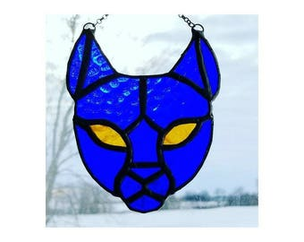 Cat, custom color, stained glass, suncatcher