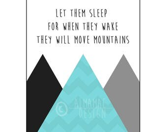 Blue Nursery Art, PRINTABLE, Let Them Sleep for When They Wake They Will Move Mountains, Baby Shower Gift, Nursery Decor, Wall Art, Twins