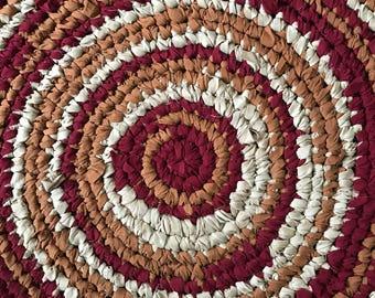 Red circle rag rug