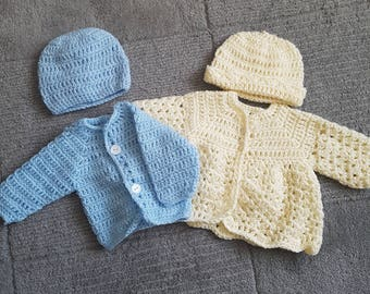 Handmade crochet cardigan and hat set