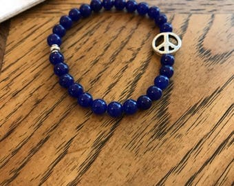 Natural Stone with Peace Sign Bracelet