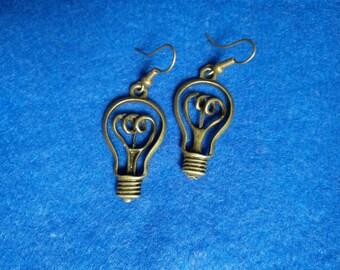Bronze retro light bulb earrings