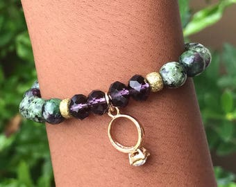 Zoisite and Crystal Stretch Bead Bracelet
