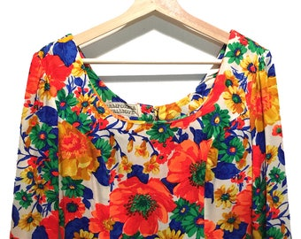 Long Floral Dress, hippie dress, vintage, 70's dress , boho dress, bright dress, poppy flower dress, bell sleeve dress, California Calliope
