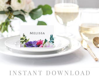 Printable Place Cards INSTANT DOWNLOAD, Wedding Name Cards, DIY Printable Decorations, Templett, Editable pdf, Tent, Bright Flora, Prismo