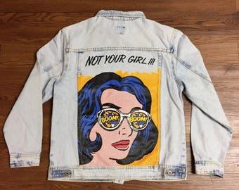 Pop Art Denim Jacket. Pop Art. Not Your Girl. Light Wash Denim Jacket. Small. Comic Book. Comic Jacket. Comic Artwork. Wearable art. denim