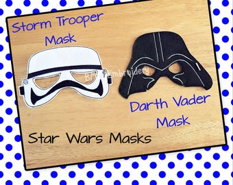 Darth Vader- Stormtrooper-Star Wars Inspired Felt Mask-Child's Dress Up Imaginary Play- Birthday Party Favor-Photo Shoot-Theme Party