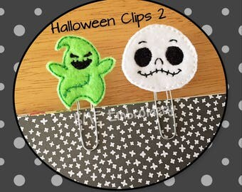 Halloween Paper Clips- Jack Skellington-Oogie-Halloween Planner Clip-Plan Accesory-Journal Clip-Bookmark-Clips for Planners