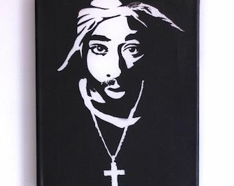 Tupac Painting (8.5x11) Hip Hop Art, Pop Art, Tupac Art, Tupak Shakur, 2pac, Stencil, Street Art, Graffiti, Art Print