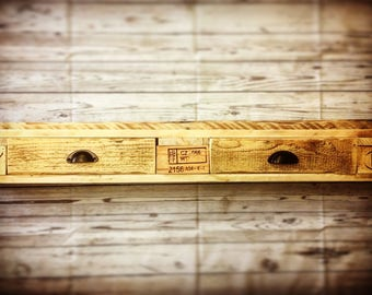 Lovely Handmade Rustic Shelf with Drawers