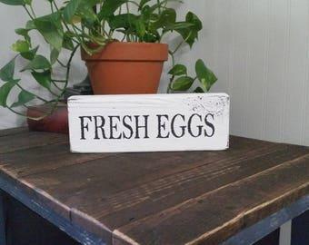 Fresh Eggs wood block sign