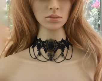 Black Victorian Jewelry, Lace Choker Necklace, Lace Choker Jewelry, Black Victorian  Necklace, Black Lace Necklace, Lace Victorian Jewelry