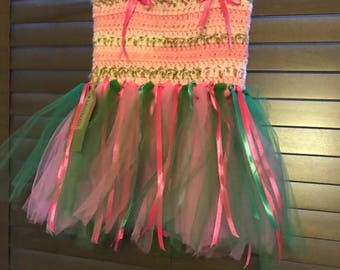 Handmadevpink and green tutu age 2 years